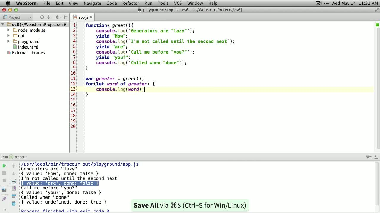 js tutorial about ES6 (ES2015) - Generators