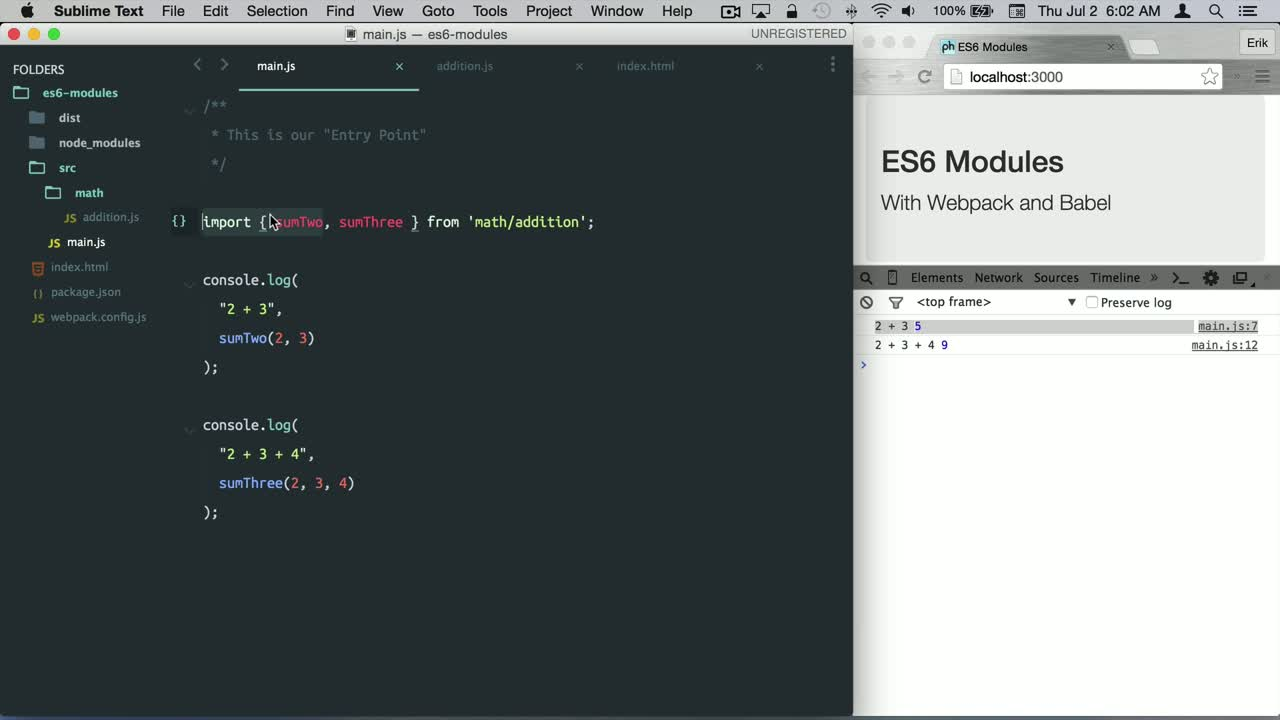javascript tutorial about ES6 Modules (ES2015) - Import and Export