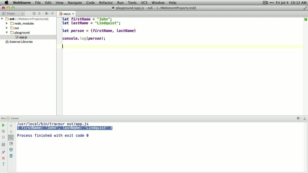 AngularJS tutorial about Shorthand Properties in ES6