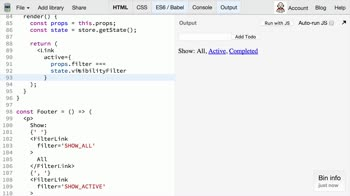 JavaScript tutorial about Redux: Extracting Container Components (FilterLink)