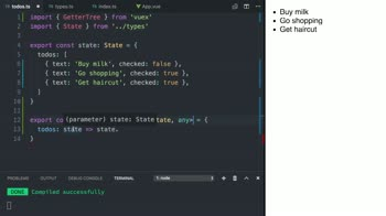 vue tutorial about Access State by using Vuex getter functions with TypeScript