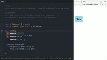 react tutorial about Add Lifecycle Hooks to a Functional Stateless Component using Recompose