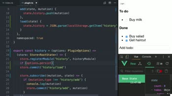 vue tutorial about Add options to a Vuex plugin using TypeScript
