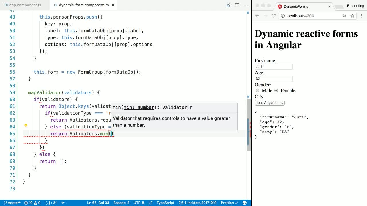 angular tutorial about Add Validation to Dynamic Forms in Angular