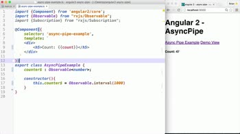 angular2 tutorial about Using the Async Pipe in Angular 2