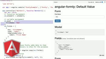 angularjs tutorial about angular-formly: Default Values