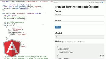 angularjs tutorial about angular-formly: templateOptions