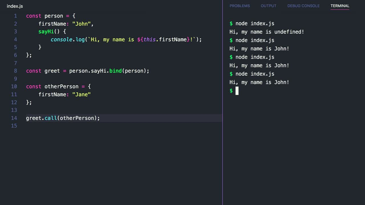 javascript tutorial about Hard-Bind a Function's this Value with the .bind() Method