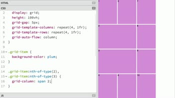 css tutorial about Change the auto-placement behaviour of grid items with grid-auto-flow