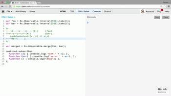 AngularJS tutorial about Combination operator: combineLatest