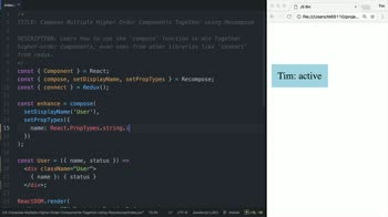 react tutorial about Compose Multiple Higher Order Components Together using Recompose