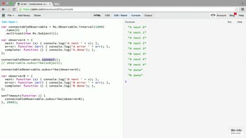 AngularJS tutorial about Connection operator: multicast and connect