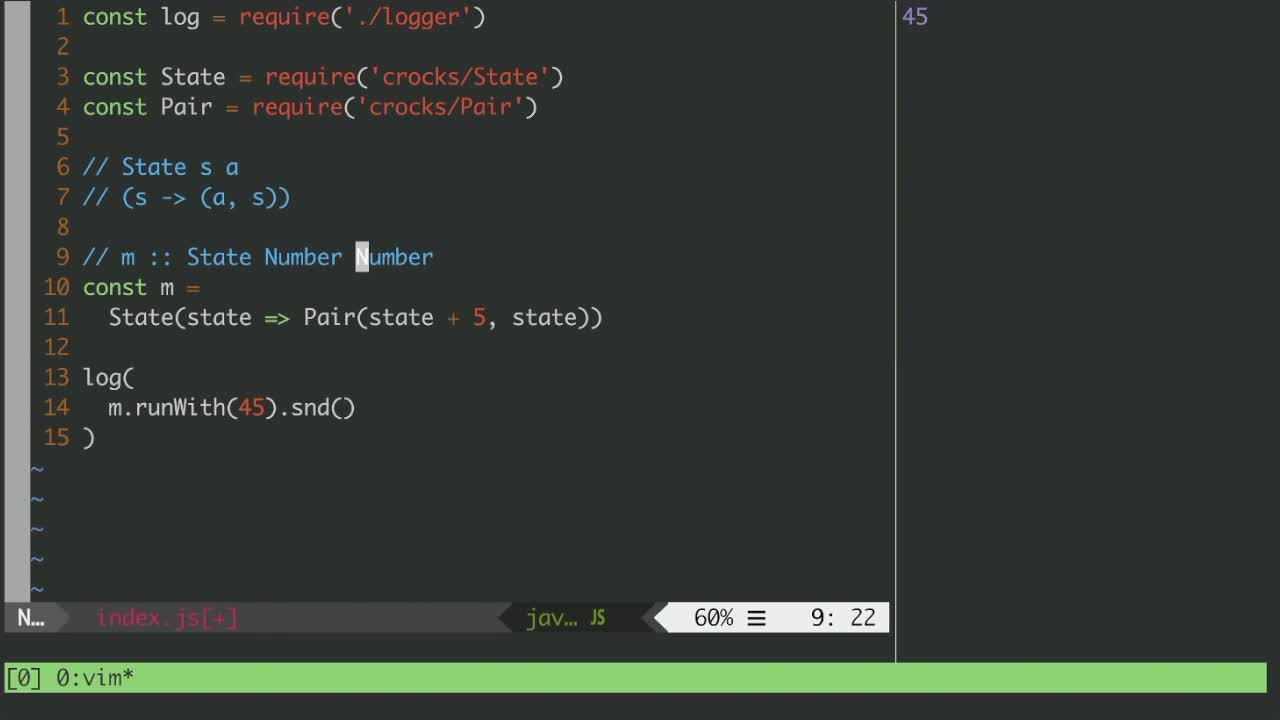 javascript tutorial about Construct a Stateful Monad