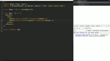 react tutorial about Create Basic Routes with the React Router v4 BrowserRouter