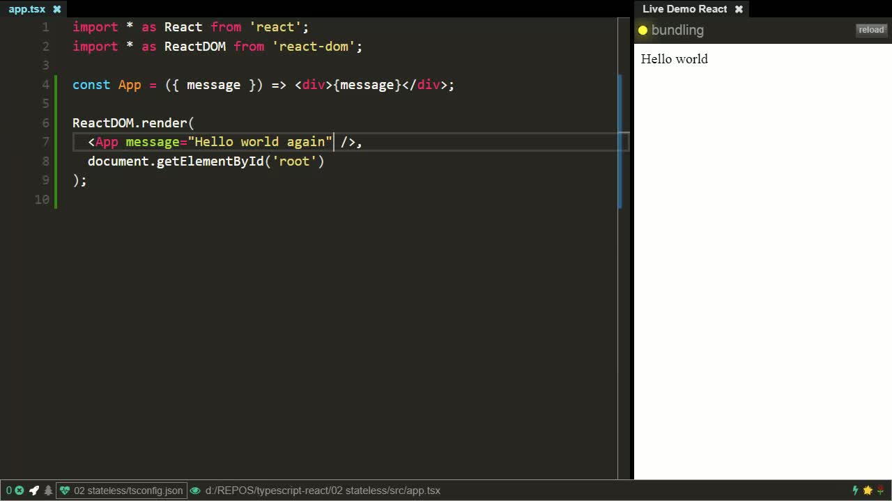 react tutorial about Create stateless React components using TypeScript