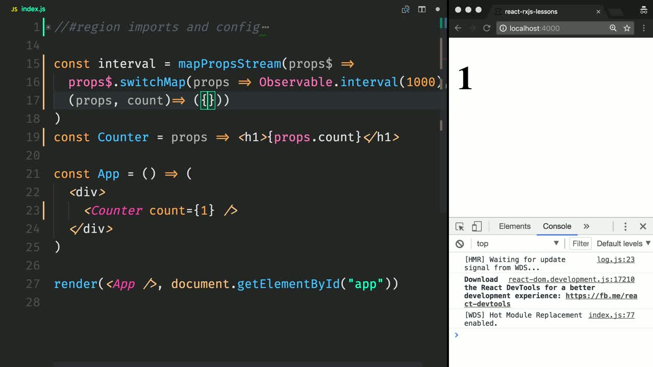 react tutorial about Create Stream Behaviors to Push Props in React Components with mapPropsStream