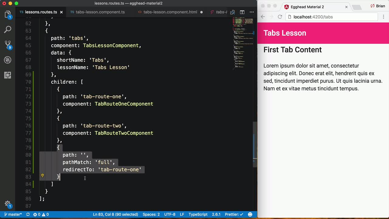 Create Tabbed Interfaces using Angular Material Tabs from @btroncone