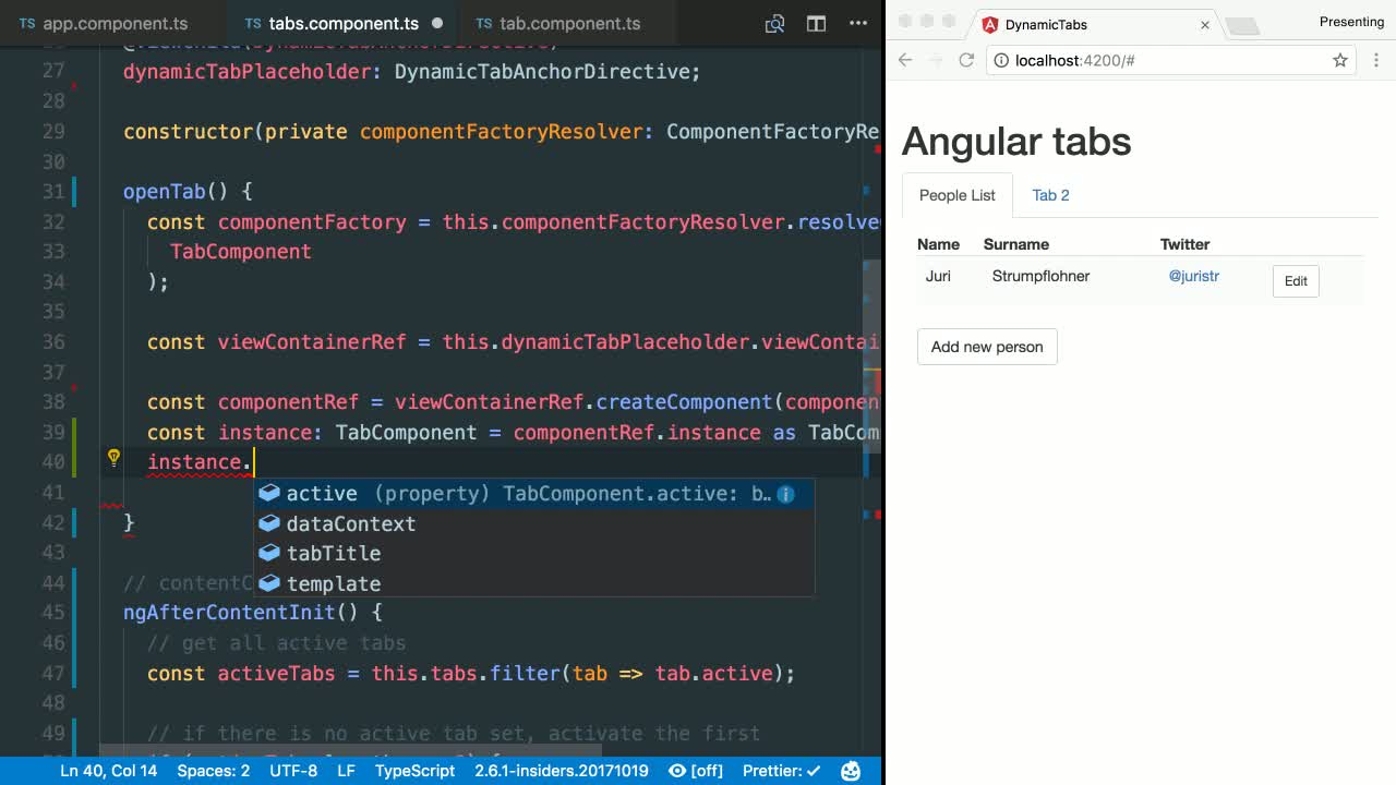 angular tutorial about Dynamically Instantiate an Angular Component