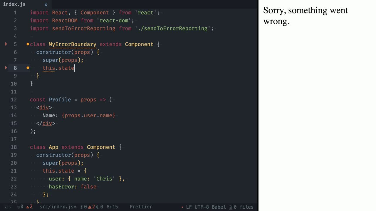 react tutorial about Error Handling using Error Boundaries in React 16