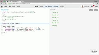 AngularJS tutorial about Filtering operators: take, first, skip