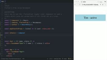 react tutorial about Flatten a Prop using Recompose