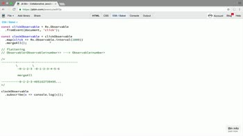 AngularJS tutorial about Flatten a higher order observable with mergeAll in RxJS