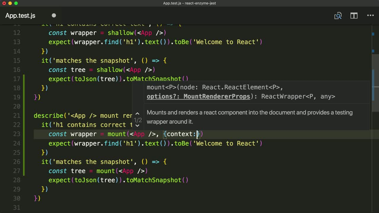 react tutorial about Fully Render React Components with Enzyme