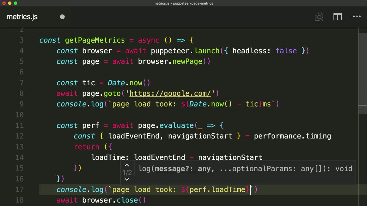 Get a Page's Load Time with Puppeteer from @iamtylerwclark