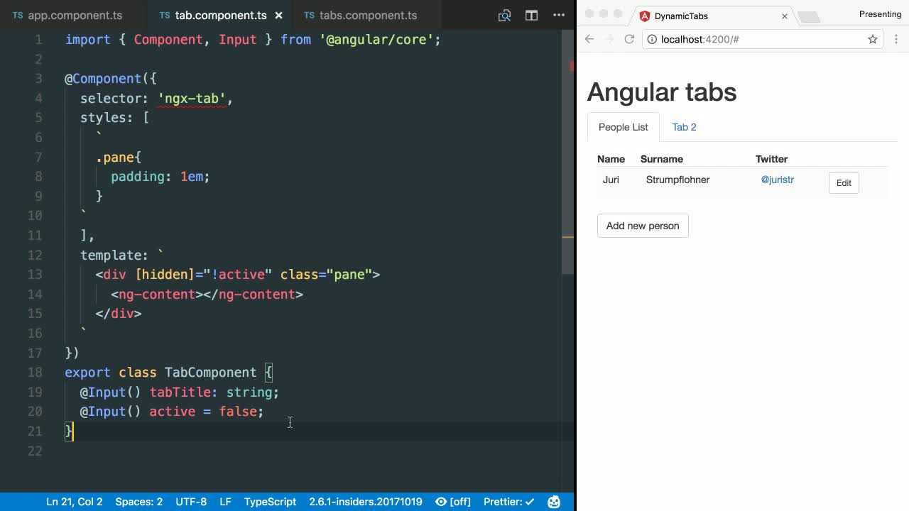 angular tutorial about Angular Tab Component Overview