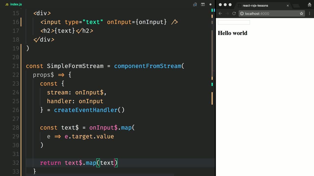 react tutorial about Handle React Events as Streams with RxJS and Recompose