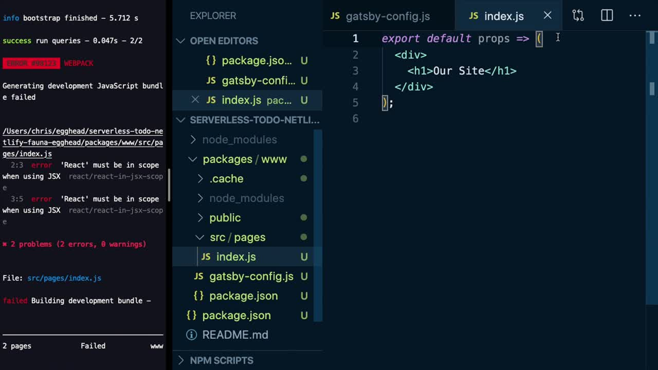 Initialize a new Gatsby project with a gitignore in yarn workspaces