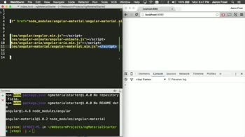 angularjs tutorial about Angular Material: Installing with NPM