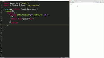 react tutorial about React-Motion: Introduction to the Spring Component