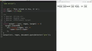 js tutorial about Javascript Regular Expressions: Find the Start and End of Whole Words