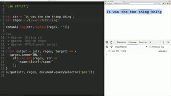 js tutorial about Javascript Regular Expressions: Match the Same String Twice
