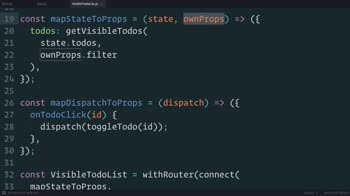 js tutorial about Redux: Using withRouter() to Inject the Params into Connected Components