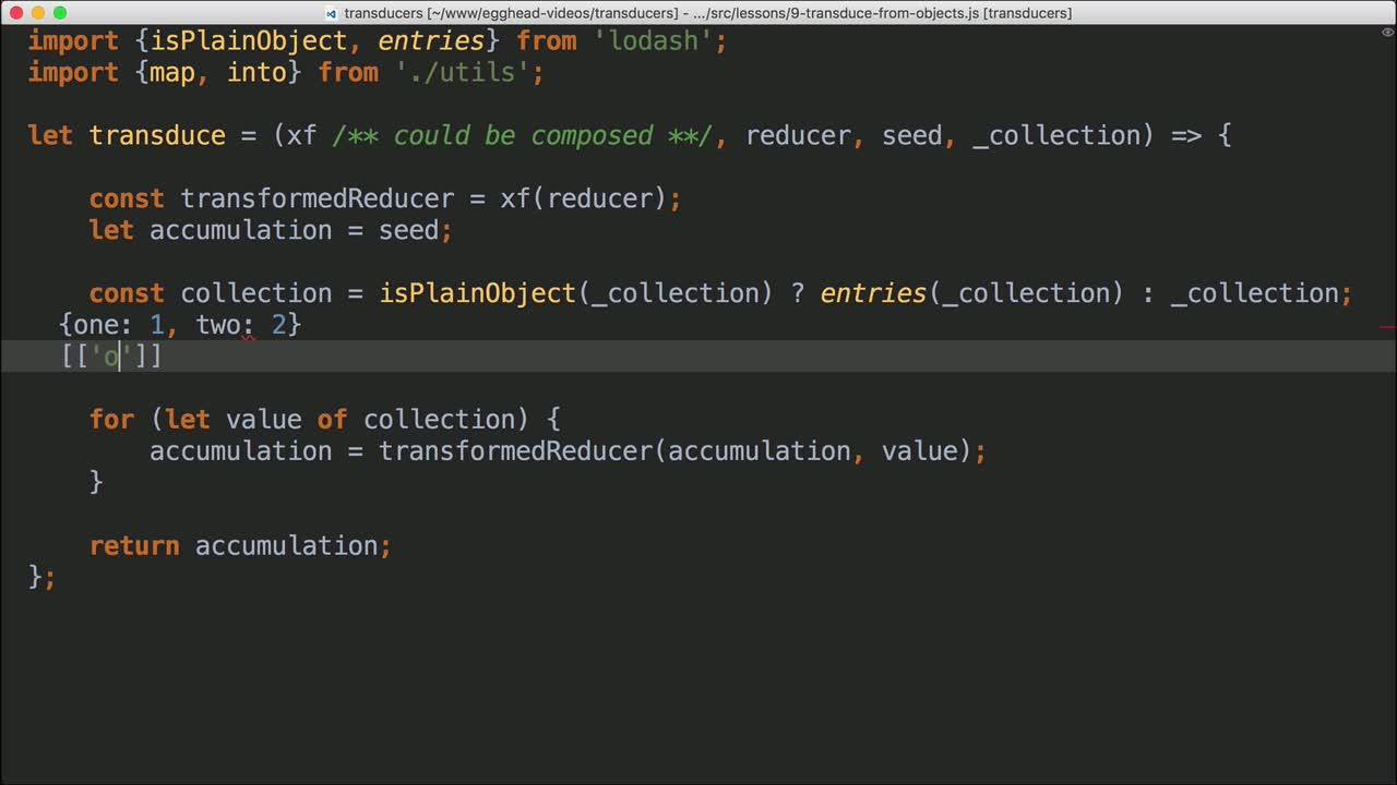 javascript tutorial about Transduce When the Collection Type is an Object