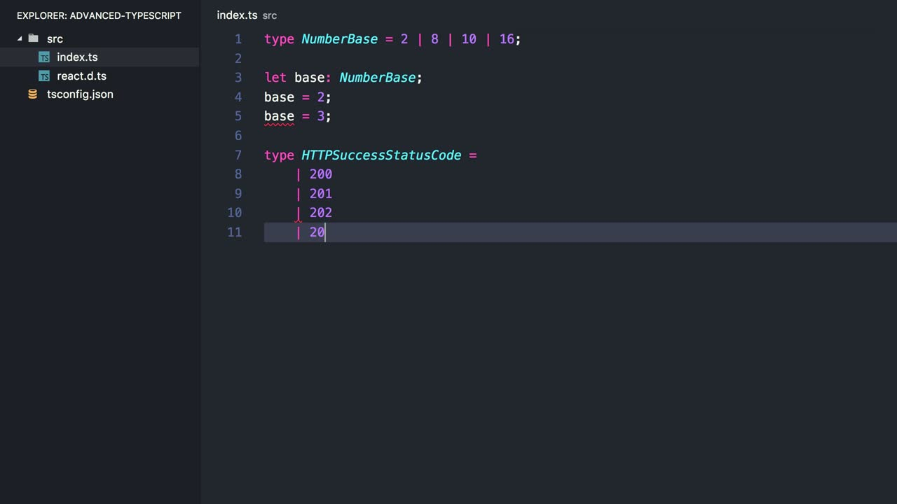 typescript tutorial about Specify Exact Values with TypeScript's Literal Types
