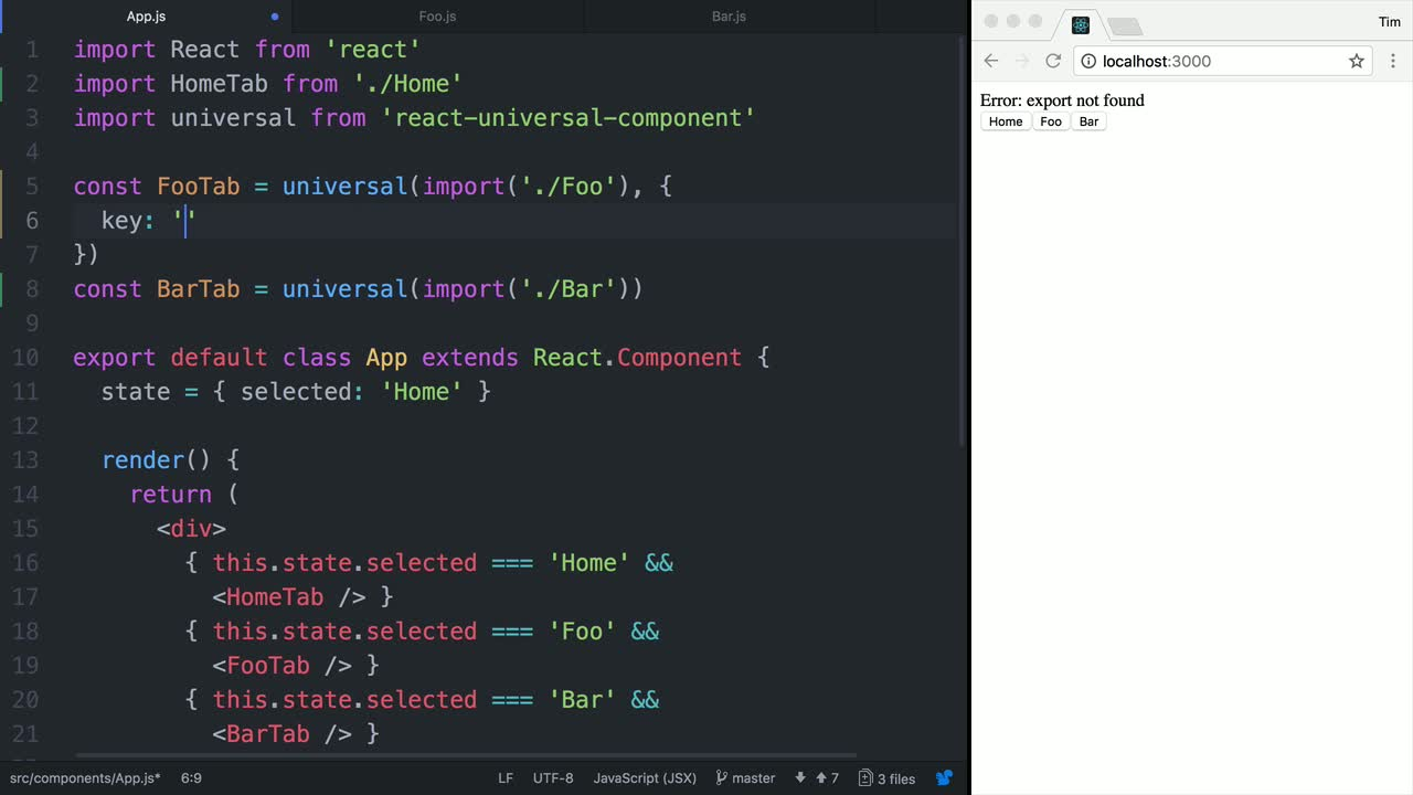 react tutorial about Load a Universal React Named Exported Component with the Key Option