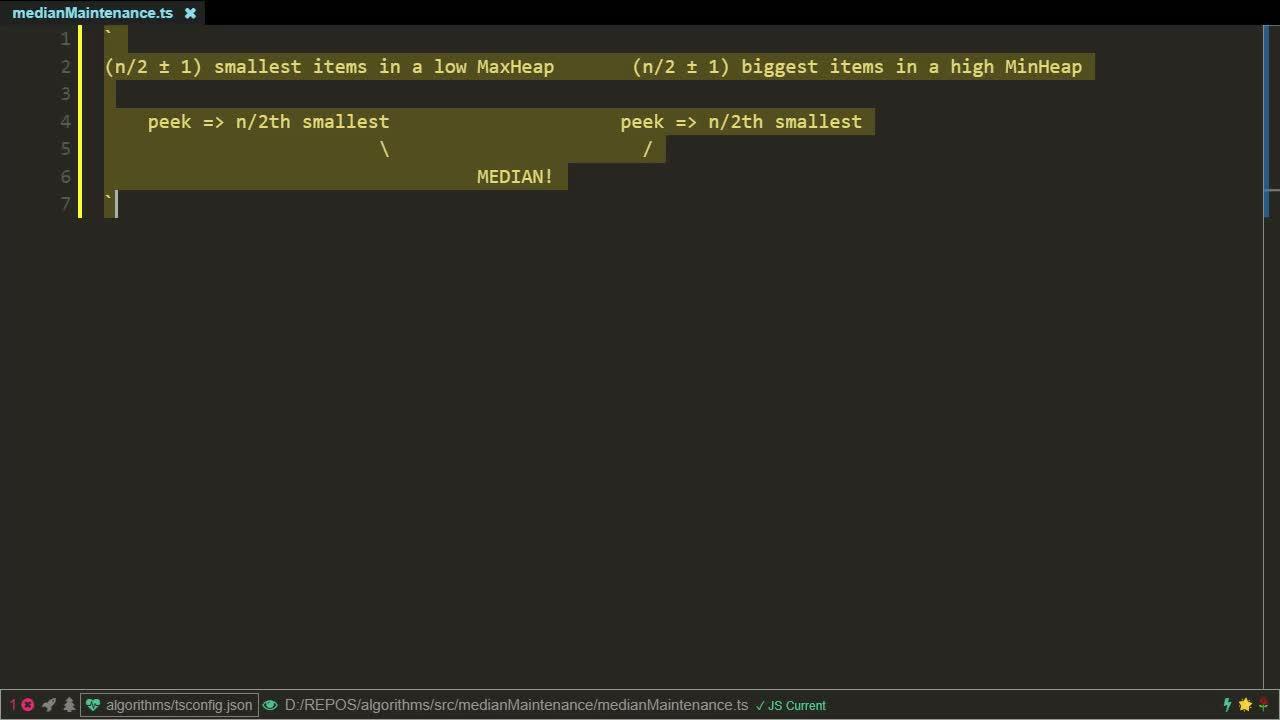 typescript tutorial about Median Maintenance algorithm implementation using TypeScript / JavaScript