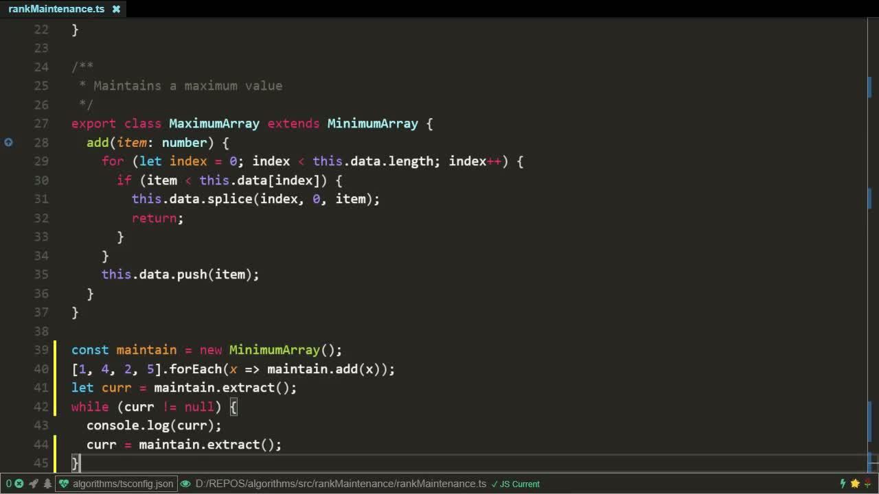 typescript tutorial about Minimum / Maximum Maintenance algorithm implementation using JavaScript / TypeScript