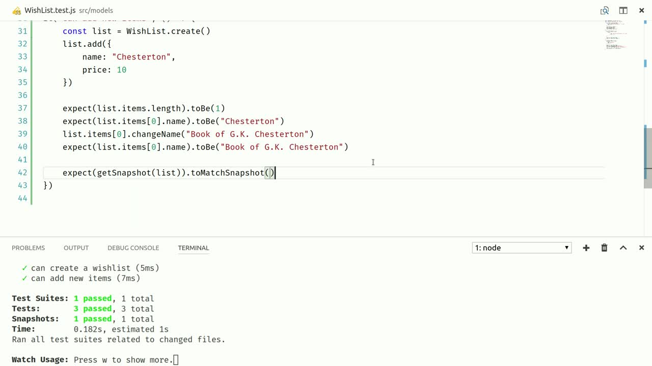 react tutorial about Test mobx-state-tree Models by Recording Snapshots or Patches