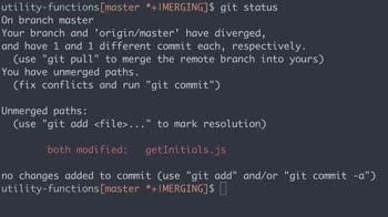 otherjs tutorial about Practical Git: Resolve merge conflicts with git status
