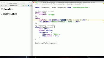 AngularJS tutorial about Property Binding with Angular 2 and TypeScript