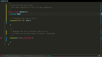typescript tutorial about Queue implementation using TypeScript