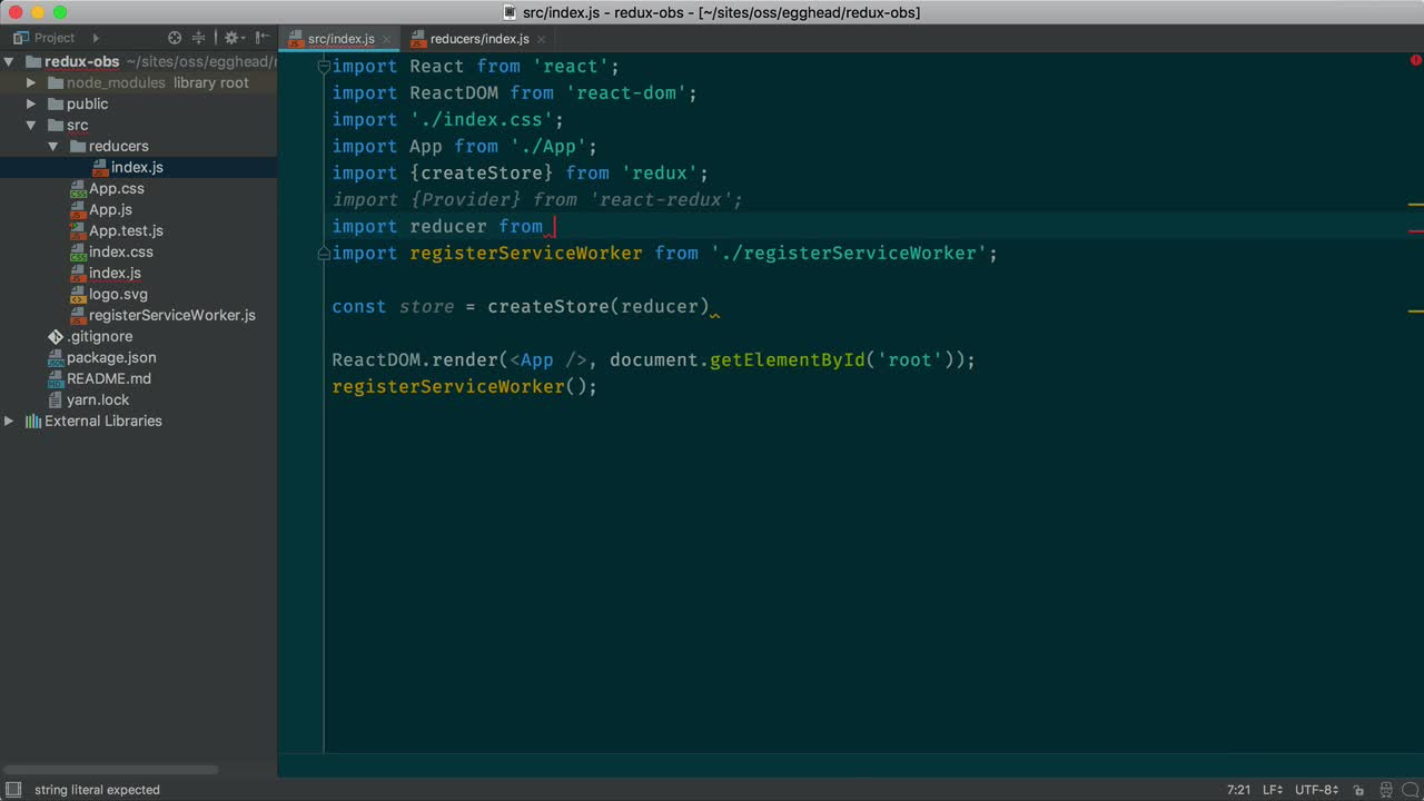 react tutorial about Add Redux to a React application
