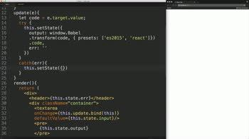 react tutorial about Build a JSX Live Compiler as a React Component