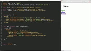 AngularJS tutorial about React Router: activeStyle & activeClassName