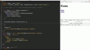 react tutorial about React Router: setRouteWillLeaveHook