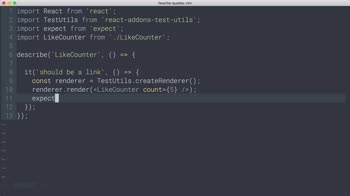 AngularJS tutorial about React Testing: Element types with Shallow Rendering